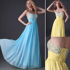 Beaded Chiffon Long Bridesmaid Wedding Evening Party Dresses Formal Prom Gowns