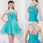 Sexy One shoulder Sequins Organza Gown Cocktail Evening Prom Party Short Dresse