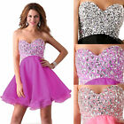 Sexy Short Chunky Rhinestone Bridesmaid Evening Party Prom Cocktail Dress 6-20