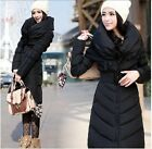 New Fashion Womens' Long Black Warm Down Coat With Blet Show Slim Jacket/Puffer