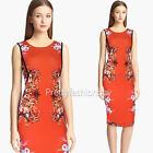 Women Vintage Flower Print Stretch Tunic Sheath Party Wear To Work Pencil Dress