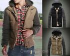 Hot Fashion Men Slim PU leather Stitching Long Sleeve Joint Cotton Hooded Tops