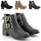 NEW WOMENS CHELSEA CUT OUT BUCKLE LADIES LOW HEEL ANKLE BOOTS SHOES SIZE 3-8