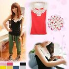 Korean Fashion Women flower neck sleeveless T shirt Lady vest Hot Tops 8 Colors