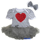 Baby Girls Red Rose Rosettes Heart Gray Chevron Romper Bodysuit Pettiskirt 0-18M