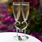 Linked Love Wedding Toasting Flutes Glasses w/ Heart Stand can be Personalized