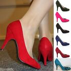 960 LADIES CLASSY BUSINESS OFFICE SUEDE HEEL STYLE WORK COURT SHOES SIZE 3 - 8