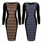 Womens Long Sleeve Aztec Lurex Panel Velour Velvet Contrast Bodycon Party Dress
