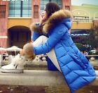 Hot Women Nagymaros collar hooded thick duck down jacket Slim parka coat
