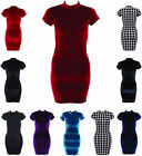 Womens Ladies Turtle neck Warm Velvet Sequin Check Short Strechy Bodycon Dress
