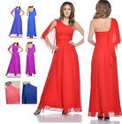 New One Shoulder Long Chiffon evening formal ball gown back sash cocktail dress
