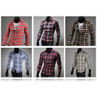 2013 Fashion New Men's Luxury Slim Casual Plaids Checks Long Sleeved Dress Shirt