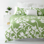 MADISON FRESH GREEN Leaf Design  Quilt / Doona Cover Set  250TC Percale NEW