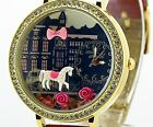 Ribbon rose horse pink Mini polymer clay watch fashion ladies woman waterproof