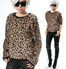 RTBU Glam Punk Leopard Cheetah Animal Faux Fur Furry Slouchy Jumper Sweatshirt