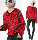 RTBU Punk Rock Red Leopard Anima Vegan Faux Fur Velvet Furry Pullover Sweatshirt