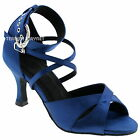TPS Blue Satin Latin Ballroom Salsa Custom-made Dance Shoes D972