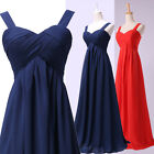 New Long Strap Chiffon Party Prom Women's Evening Bridesmaid Dresses Size 2-16