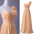 Flowered One shoulder Formal Bridal Bridesmaid Gown Evening Prom Cocktail dress