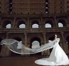 """CATHEDRAL WHITE/IVORY 195"""" ELEGANT LACE EDGE LONG WEDDING VEIL ACCESSORIES/GLOVE"""