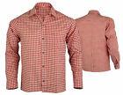 New Mens Bavarian Classic Style Lederhosen Longsleeves Red Checked Shirts