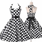Vintage Checkerboard Retro 50s 60s Halter swing Pinup Rockabilly Housewife Dress