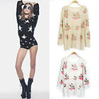 Star Floral Distressed Frayed Jumper Hole Knitwear Sweater Blouse Loose Slimming