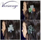 SHAMROCK CLOVER IRISH FLAG HAIR CLIP PIN GRIP BLING DIAMANTE CRYSTAL BY VARSANY
