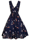 NEW VINTAGE STYLE 40'S 50'S ROCKABILLY PIN UP SWING DRESS - SIZES 10 -20