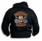 American Pride USA Enthusiast Harley Motor Cycle Biker Mens Hooded Top Sm - 2XL