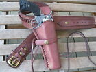 """Gun Belt - Cartridge - with 8"""" to 10"""" Smooth Holster Combo - .38 Caliber - Brown"""