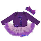 Newborn Baby Purple Pink Bling 1st Birthday Jumpsuit Long Sleeves Party Dress