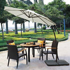 9' CANTILEVER SOLAR POWERED 40 LED LIGHT PATIO UMBRELLA OUTDOOR GARDEN SUNSHADE