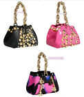 Versace for H&M Cute Black Pink Hearts Studded Leather Handbag BNWT New Tags