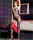 Sheer Bodystocking with Faux Floral Print Gartered Teddy & Ribbon Bow Stockings