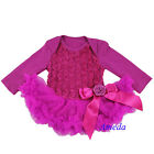 Baby Girls Raspberry Rosettes Long Sleeves Bodysuit Pettidress Tutu Party Dress