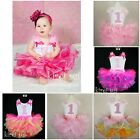 Baby Girls FULL Pettiskirt Tutu Bling Pink 1st Tank Top Birthday Party Dress 2pc