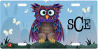 CUSTOM PERSONALIZED METAL LICENSE PLATE - CUTE OWL-ADD MONOGRAM OR ANY TEXT FREE