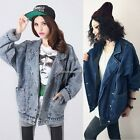 Hot style Womens Denim Trench Coat Hoodie Outerwear Jean Jacket Crop Tops Lady