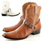 Mens Gents Snake Skin Full Zip Western Cowboy Ankle Boots Size 6 7 8 9 10 11