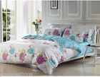 Comfortable Cotton White+Blue Flowers Pattern Quilt Cover Set Home Bedding &$