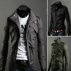 NEW Men's Military Slim Line Jacket Coat Rider Zip Button Hoody Black Grey Green