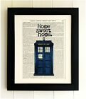 ART PRINT ON OLD ANTIQUE BOOK PAGE *FRAMED THE TARDIS Home Sweet Home Doctor Who