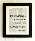 ART PRINT ON OLD ANTIQUE BOOK PAGE *FRAMED* - Be Yourself Quote, Oscar Wilde