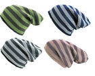 Mens Ladies Fashion Striped Slouch Beanie Winter Warm Hat Unisex One Size