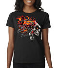 Biker Motorcycle Chain Skull with Flames Ladies T-Shirt S-2XL
