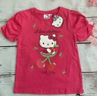 Girls official HELLO KITTY pink glitter print T-shirt Ages 2 3 4 5 6 7 & 8 years