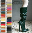 18cm Stiletto Heel Fetish Custom Handmade Slouchy Pirate Knee Hi Boots Any Color