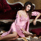 Pink/light Green silk Blend 2pcs Women Sleepwear Robe&Chemise M/L/XL/2XL