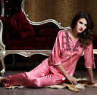 Free shipping Pink silk Blend 2pcs Women lady's Sleepwear Pajama Sets M/L/XL/2XL